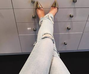 kylie jenner, jeans, and shoes image