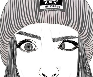 crazy eyes, drawing, and girl image