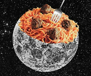 food, moon, and art image