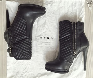 ankle boots, black, and Zara image
