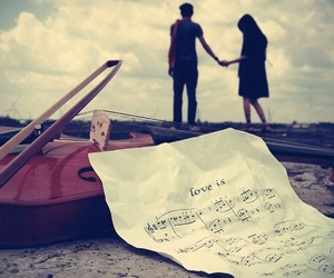 love, music, and couple image