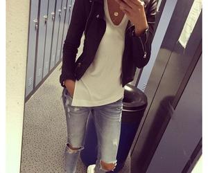 black jacket, jacket, and style image