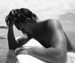 beauty, black and white, and surf image