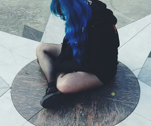 blue hair, emo, and dark image