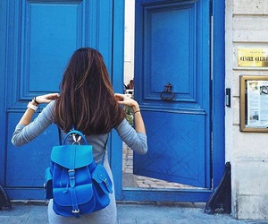 backpack, door, and hipster image
