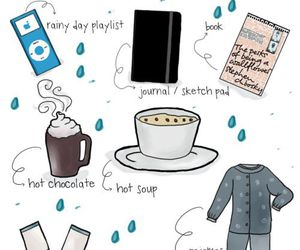 book, rainy day, and hot chocolate image