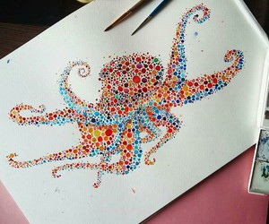 art, color, and octopus image