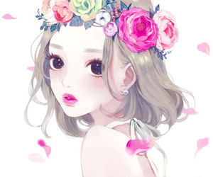 girl, anime, and flowers image