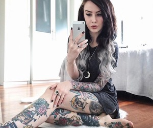 girl, tatto, and piercing image