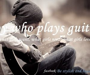 boy, guitar, and text image