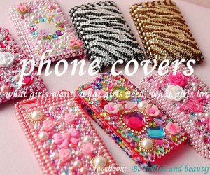 cellphone, cover, and crystals image