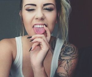 girl, tattoo, and nails image