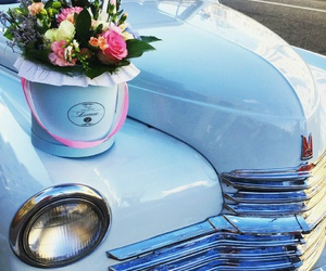 car, flowers, and happiness image
