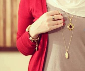 hijab, girl, and red image