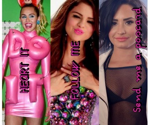 demi lovato, selena gomez, and miley cyrus image