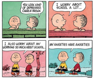 charlie brown, anxiety, and Linus image