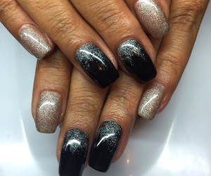 black, glitter, and nail art image