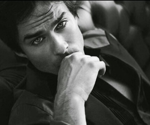 black and white, tvd, and glowing eyes image