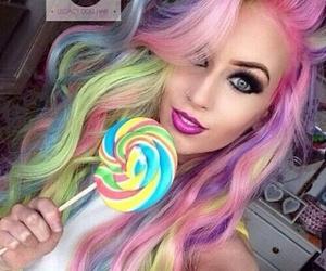hair, rainbow, and lollipop image