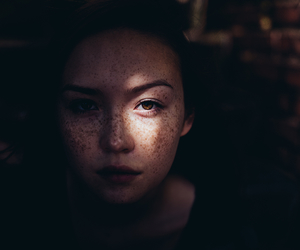 girl, freckles, and portrait image
