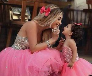 pink, dress, and mother image