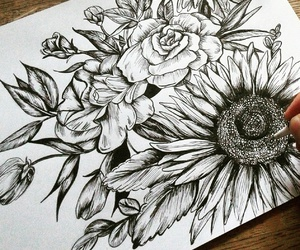 flowers, art, and black image