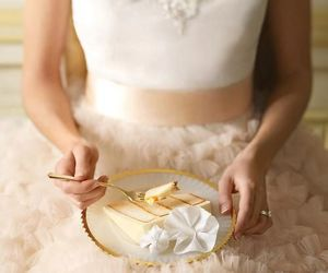 dress, beautiful, and cake image