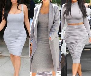 kim kardashian, fashion, and grey image