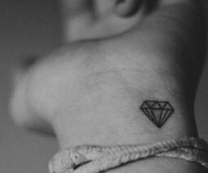black and white, tattoo, and diamond image