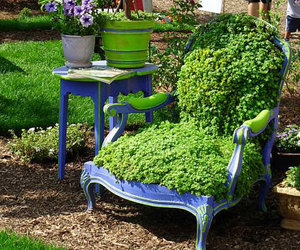 chair, green, and garden image