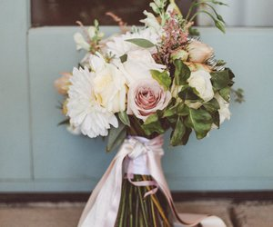 bouquet, flowers, and greenery image