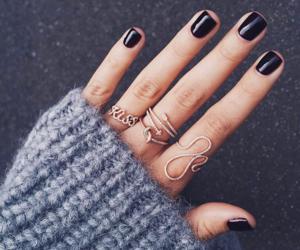 nails, rings, and black image