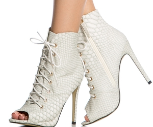 booties, lace up, and white image