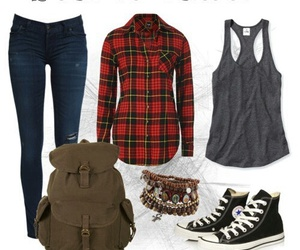 outfit, school, and red image