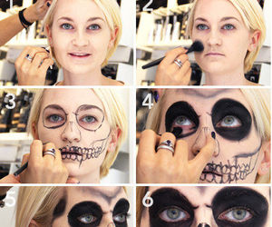 makeup, Halloween, and skeleton image