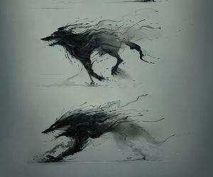 dibujo, lobo, and desvanece image
