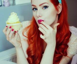 red, cupcake, and hair image
