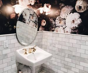 bathroom, flowers, and interior image