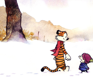 snow, calvin and hobbes, and friends image