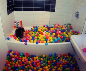 ball, boy, and bath image