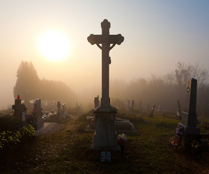 cemetery, graves, and sunset image