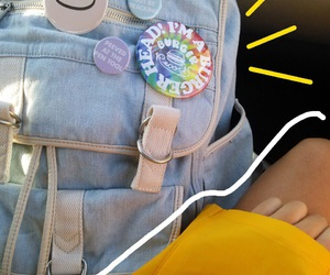 backpack, pins, and tumblr image