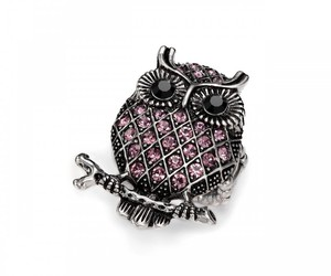 crystal owl rings, owl cocktail rings, and lattice rings image