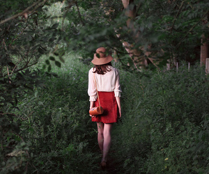 girl, forest, and red image