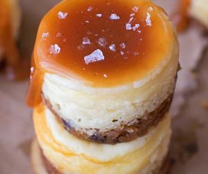 food, caramel, and cheesecake image