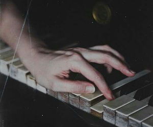 piano, hand, and pale image