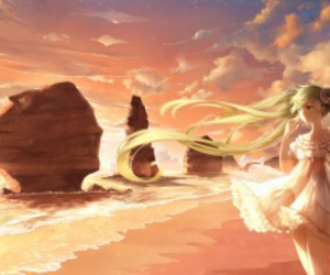 anime, beach, and character image