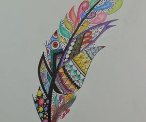 doodle, feather, and color.colorful image