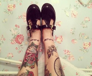 tattoo, shoes, and legs image