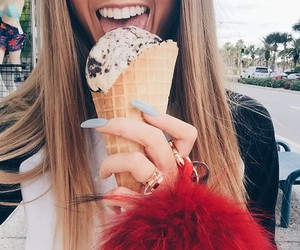 girl, ice cream, and smile image